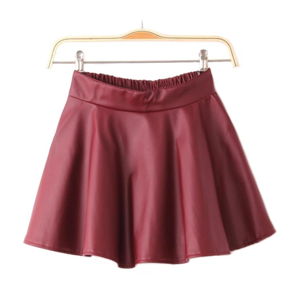 Short Women's Black Red Faux Leather Mini Skirt High Waist Pleated Skater Flared
