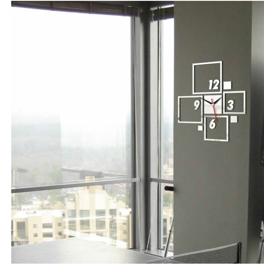 new modern decoration acyrlic mirror office wall clock sticker