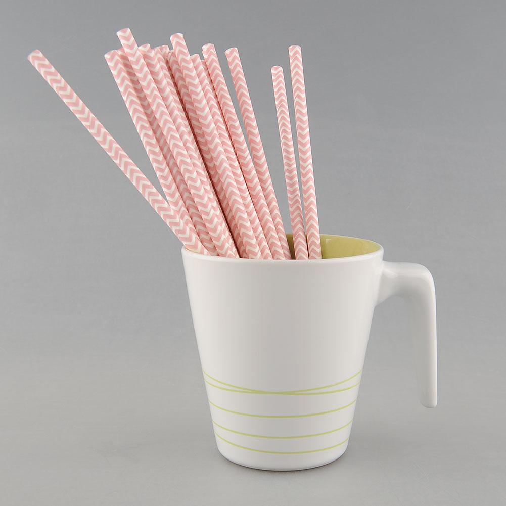 25 PCS Colorful Chevron Striped Paper Drinking Straws Birthday Prom Supply