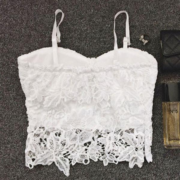 Summer Women Lace Bustier Bralet Strap Bodycon Crop Top Party Corset Bra Blouse