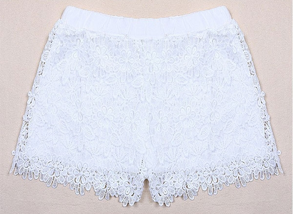 Women European Lady Elastic Shorts High Waist Flower Lace Short Pants Black