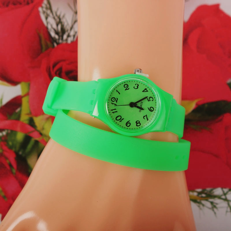 Fashion Women Silicone Quartz Double Circles Long Band Strap Wrist Watch Gift