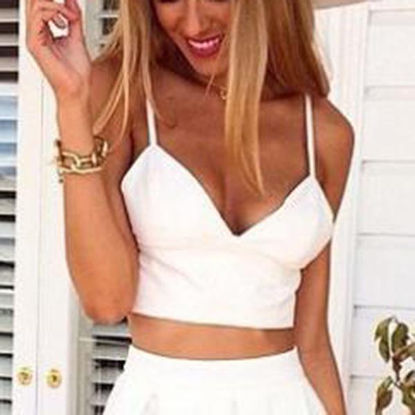 New Women V-Neck Fit Splice Strap Crop Top Cocktail Dress Skirt White