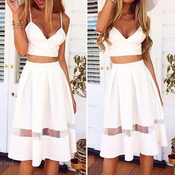 New Women V-Neck Fit Splice Strap Crop Top Cocktail Dress Skirt White