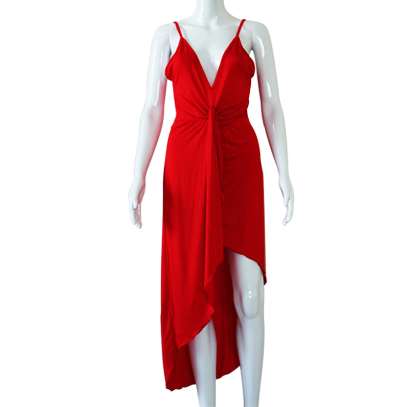 Summer Women Lady V Neck Split Twist Backless Sexy Mini Dress Skirt Top