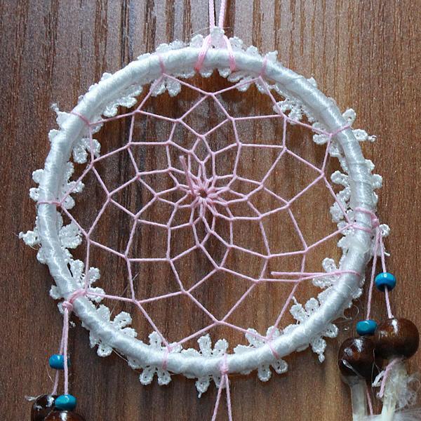 Mini white flower dream catcher net with feathers wall hanging mini white flower dream catcher net with feathers mightylinksfo