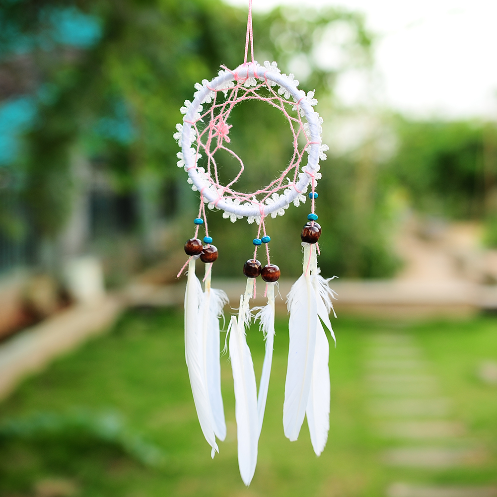 Mini white flower dream catcher net with feathers wall hanging image is loading mini white flower dream catcher net with feathers mightylinksfo