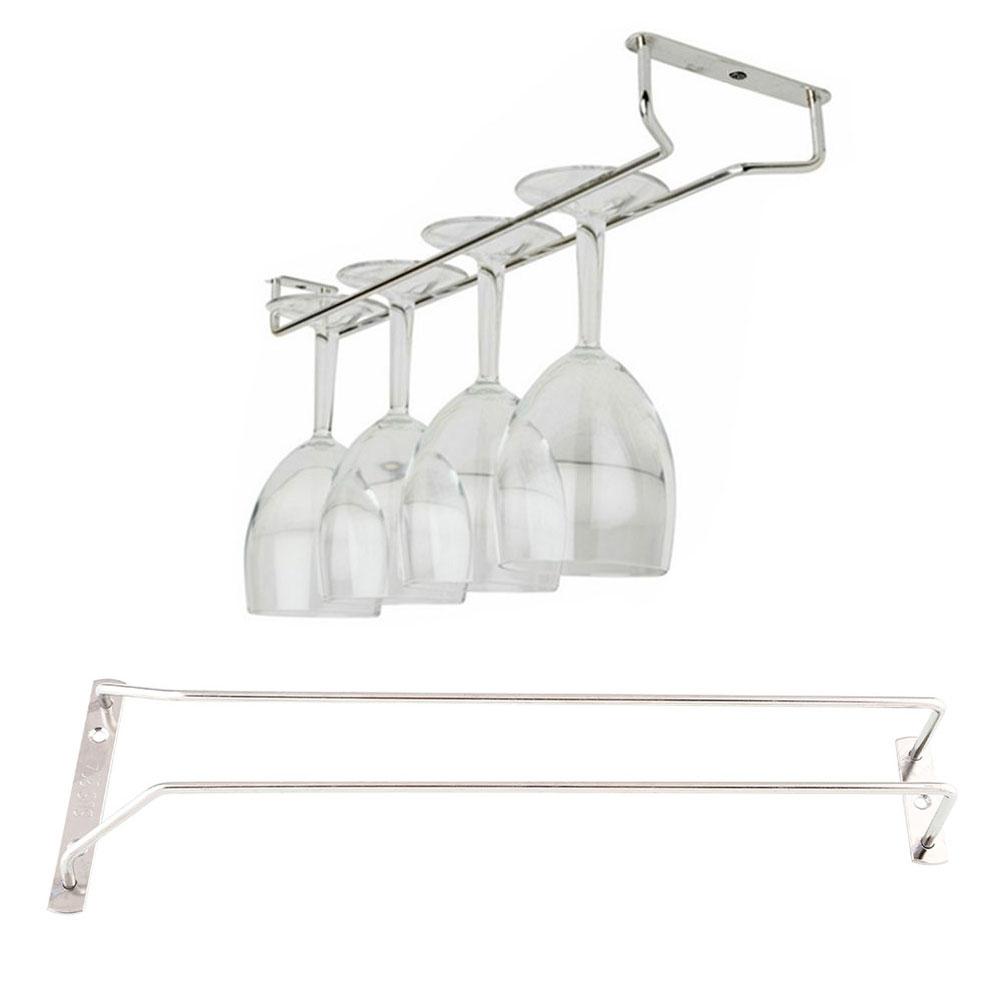 "35cm/13"" Wine Glass Cup Rack Under Cabinet Hanging Stemware Holder Shelf Home 3"
