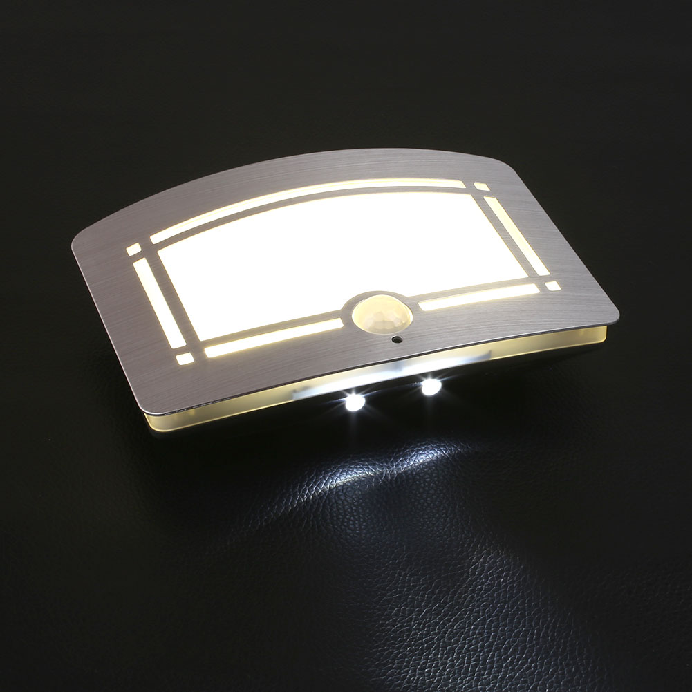 motion sensor activated battery operated led wall lamp night light. Black Bedroom Furniture Sets. Home Design Ideas