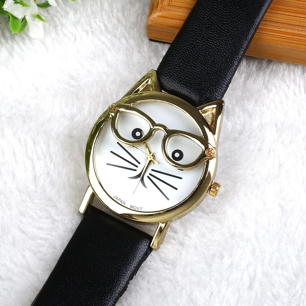 Lady-Sweet-Love-Gift-Cat-Rhinestone-PU-Leather-Quartz-Wrist-Watch-Gift