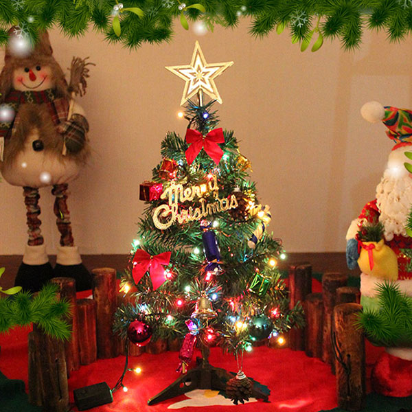 mini weihnachtsbaum tannenbaum geschm ckt mit led lichterkette dekoration ebay. Black Bedroom Furniture Sets. Home Design Ideas