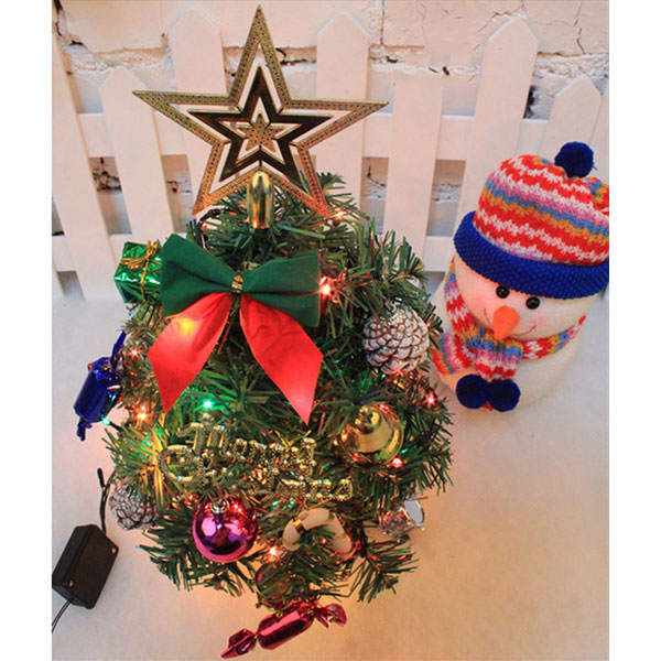 mini weihnachtsbaum tannenbaum geschm ckt mit led lichterkette dekoration ebay. Black Bedroom Furniture Sets. Home Design Ideas