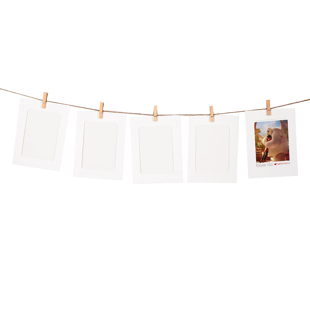 10set paper photo diy wall picture hanging frame album rope clip set home decor ebay. Black Bedroom Furniture Sets. Home Design Ideas