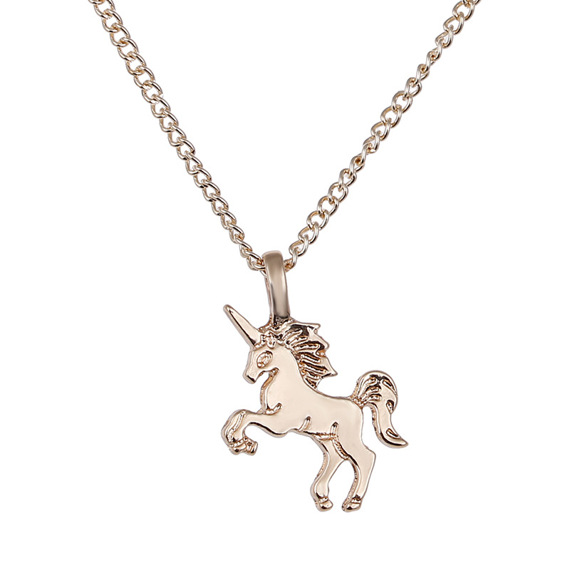 81FB-HOT-Charm-Womens-Unicorn-Pendants-Rose-Gold-Chains-Choker-Necklaces-Gift