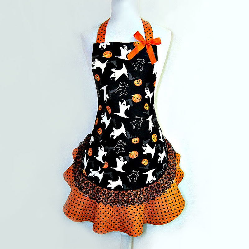 5A1E-Fashion-New-Halloween-Ghost-Printed-Lace-Pumpkin-thanksgiving-Party-Apron