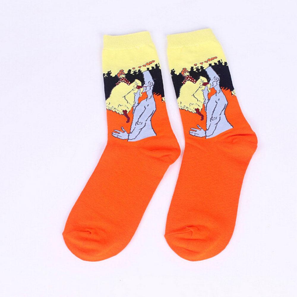 F20C-1Pair-Fashion-Retro-Vintage-Unisex-Women-Art-Painting-Funny-Socks-Stocking