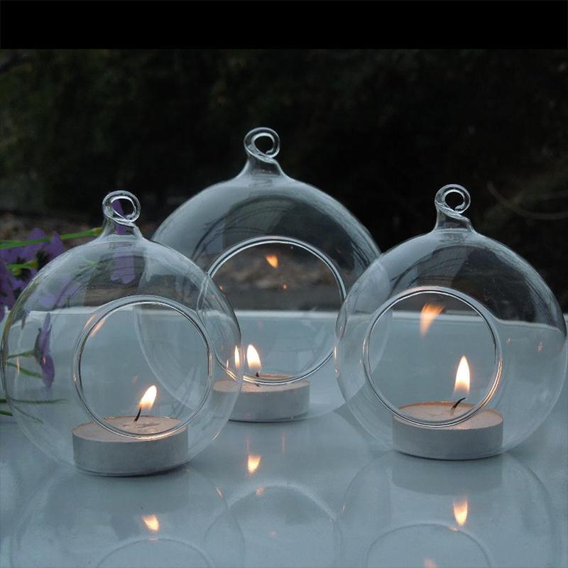 glas teelichthalter zum aufh ngen h ngen h ngend kerzenhalter tischdekor ebay. Black Bedroom Furniture Sets. Home Design Ideas