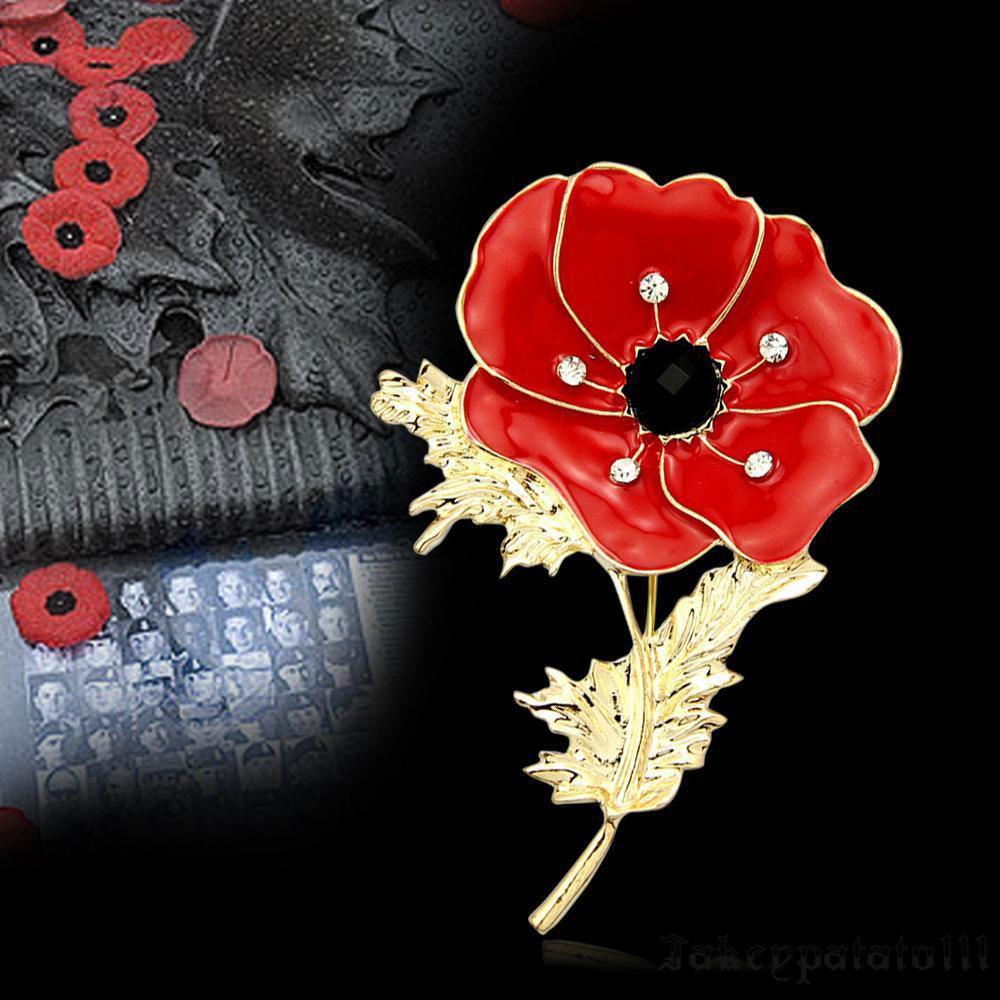 Crystal Diamond Poppy Flower Brooch Pin Enamel Metal Charm Badge