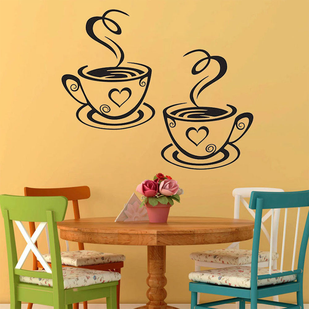 321B Coffee Cups Tea Wall Stickers Mural Decal Art Cafe Bar Kitchen ...